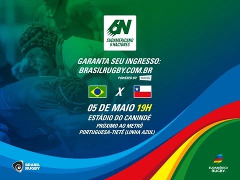 Ingressos à venda para a primeira partida dos Tupis no Sul-Americano 6 Nações, Brasil x Chile, 05 de maio no Canindé